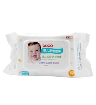BOBO 乐儿宝婴儿卫生湿巾(80片三连包,加盖)