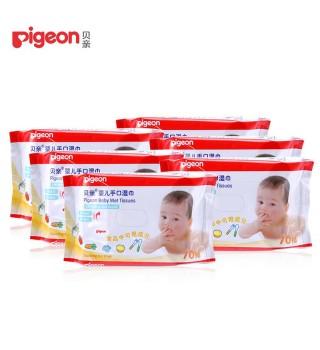 (Pigeon) 贝亲 婴儿手口湿巾70片装6连包特惠装