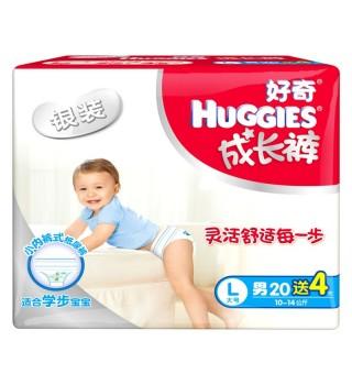 好奇 Huggies 银装成长裤L20+4片拉拉裤L学步裤大号【男宝宝】