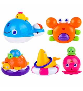 Toyroyal皇室玩具婴儿洗澡玩具宝宝儿童戏水漂浮喷水章鱼鲸鱼