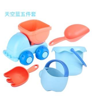日本皇室马卡龙软胶儿童沙滩玩具套装宝宝戏水挖沙玩沙铲工具水桶