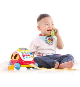 【12个月】澳贝玩具电子汽车电话 1岁早教机电话玩具 学习中英文