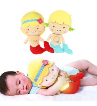 澳贝美人鱼音乐安抚宝宝玩具毛绒夜灯王子公主款