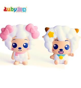 澳贝喜羊羊与灰太狼宝宝捏捏响新生婴儿早教益智捏捏叫玩具0-1岁