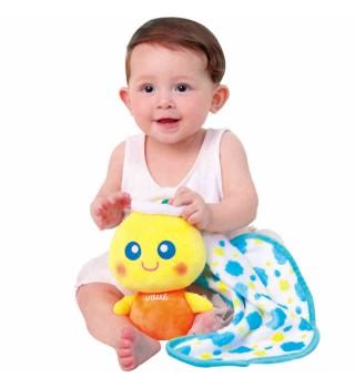 澳贝新品安抚音乐毯新生婴儿助眠手偶毛绒巾早教胎教玩偶宝宝玩具