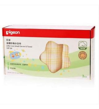 贝亲—全棉纱布小方巾(三条盒装)