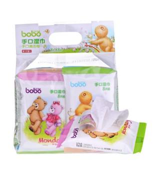 bobo乐儿宝儿童宝宝手口湿巾婴儿迷你湿巾便携袋装8片装8连包特价