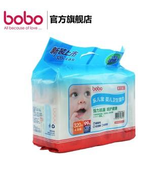 bobo乐儿宝婴儿湿巾 卫生柔湿巾 宝宝湿纸巾80片*4包