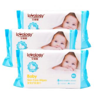 全因爱 婴儿宝宝湿巾 湿纸巾 80抽*3连包共240片